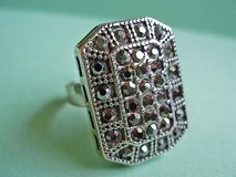 Large Silver Shield Ring with Marcasites in San Antonio, Texas